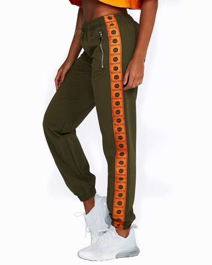 Nicky Kay Logo Track Pants - Khaki and Orange