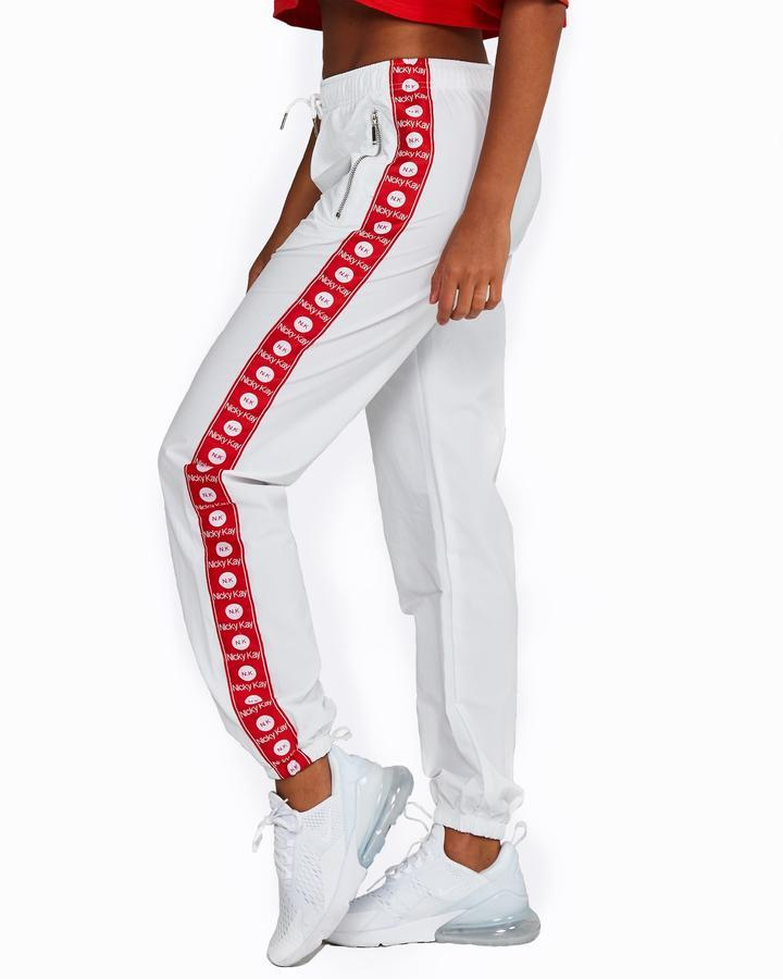 Nicky Kay Logo Track Pants - White and Red