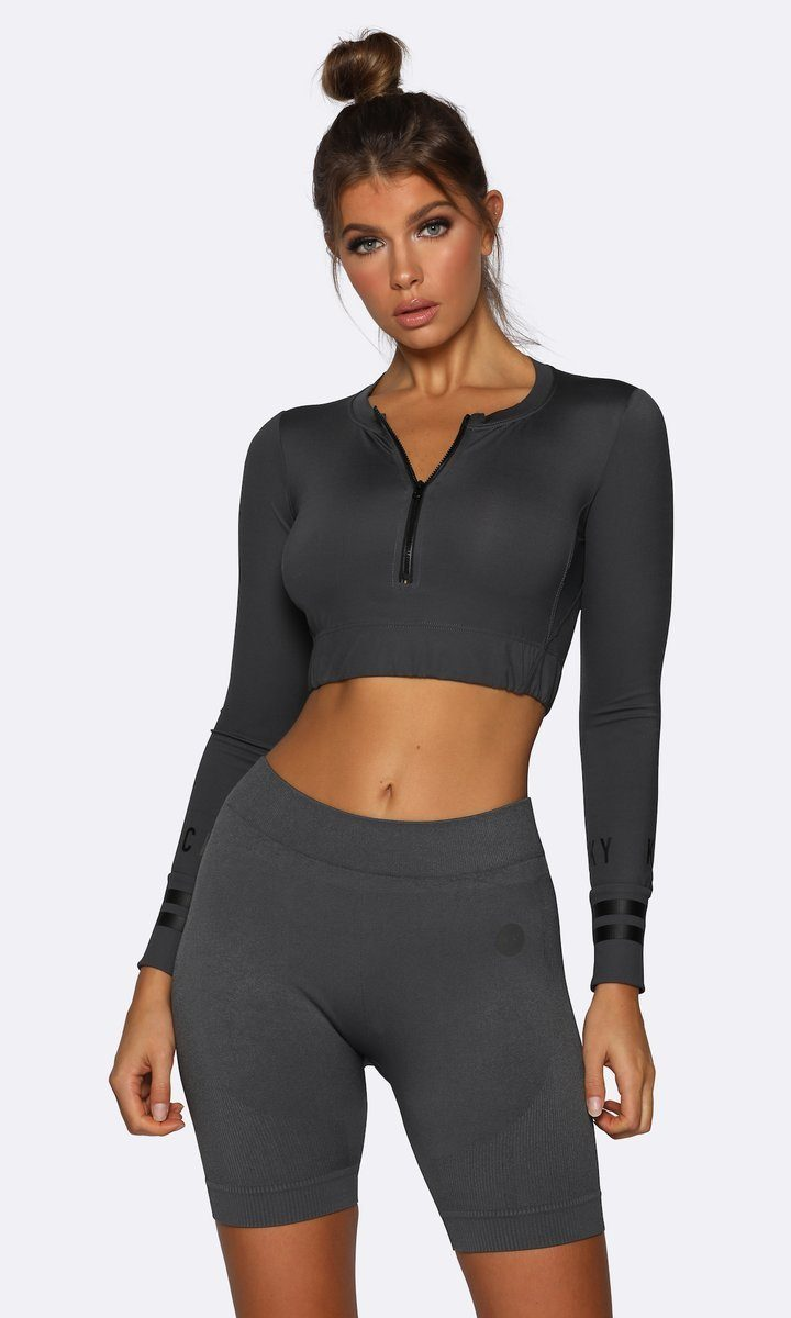 Nicky Kay Long Sleeve Crop - Charcoal