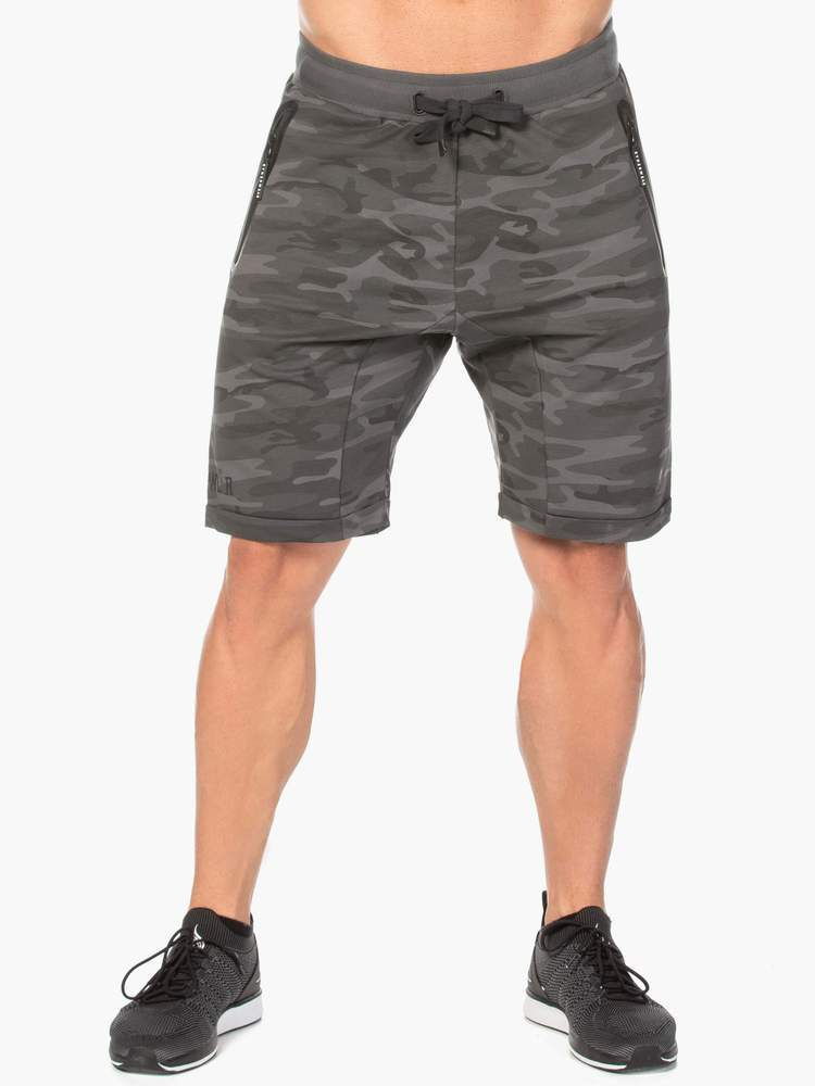 Ryderwear Camo Fleece Track Shorts - Black Camo
