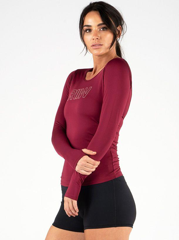 Ryderwear Cut Out Long Sleeve Top - Burgundy