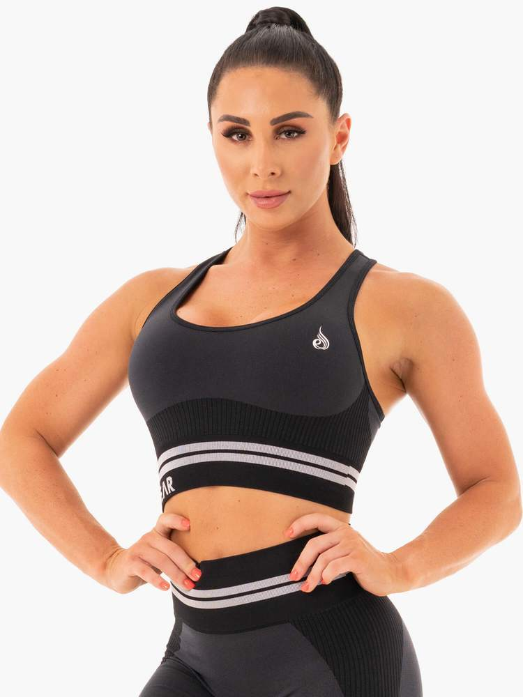 Ryderwear Freestyle Longline Seamless Sports Bra - Black