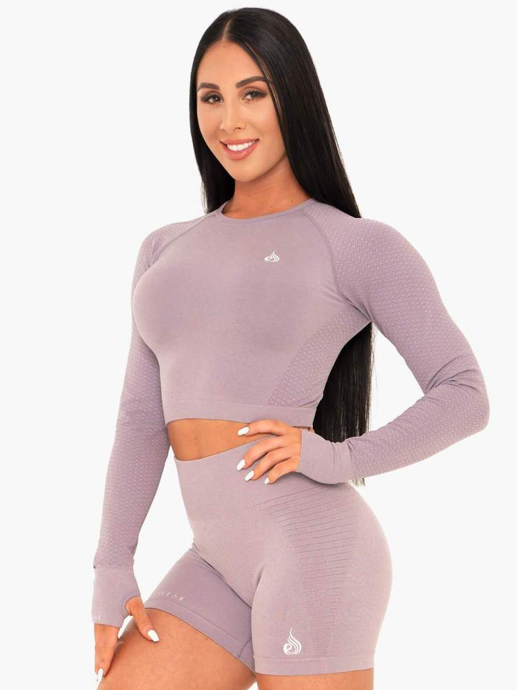 Ryderwear Geo Seamless Long Sleeve Crop - Mauve