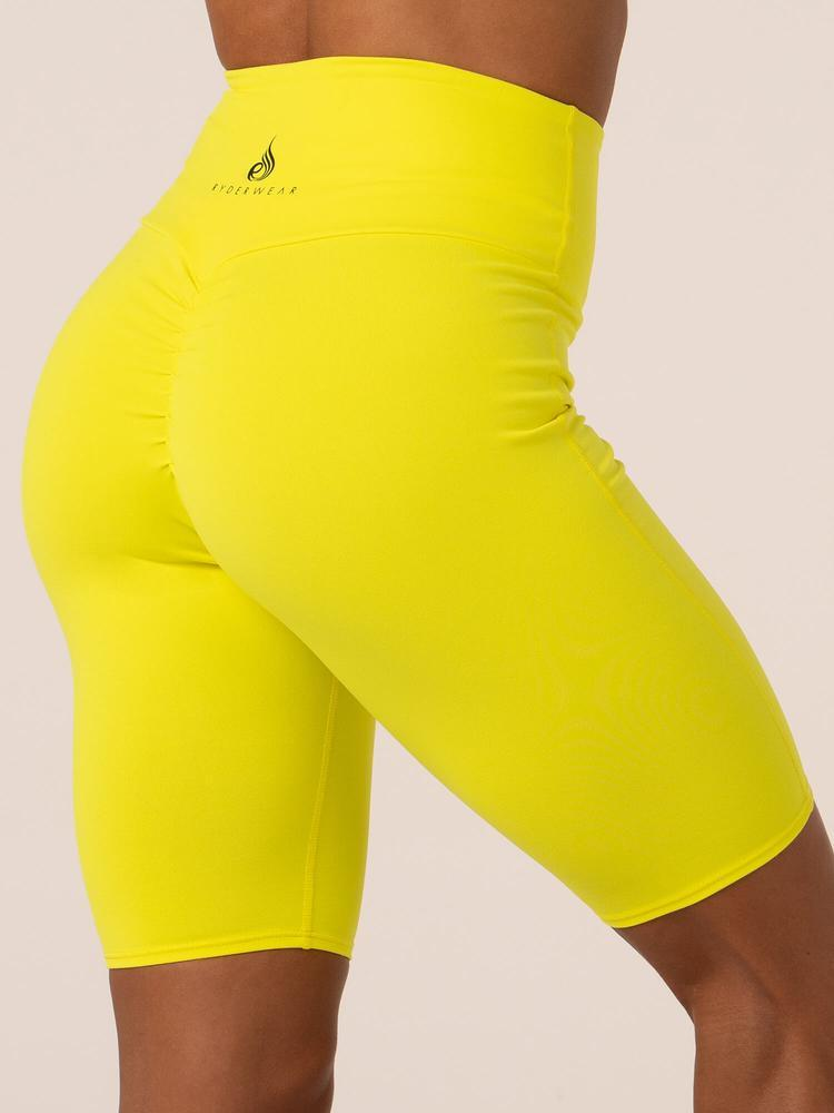Ryderwear Neonude Scrunch Bum Bike Shorts - Neon Yellow