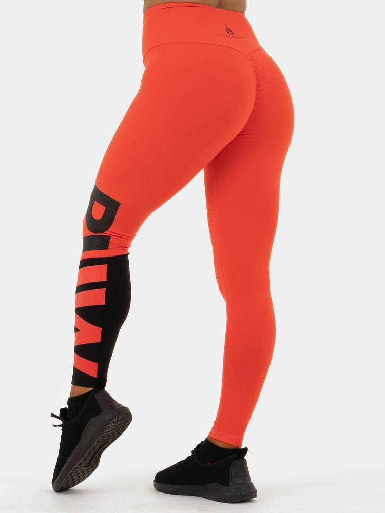 Ryderwear Neonude Scrunch Bum Leggings - Tangerine