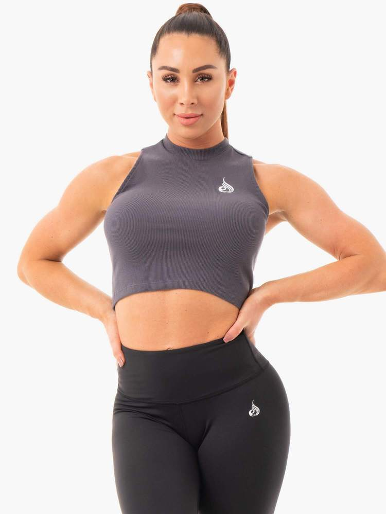 Ryderwear Ribbed Cropped Tank - Charcoal
