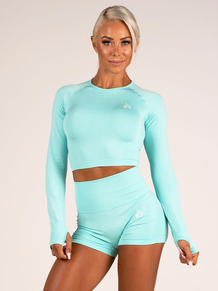 Ryderwear Seamless Long Sleeve Crop - Aqua Marl
