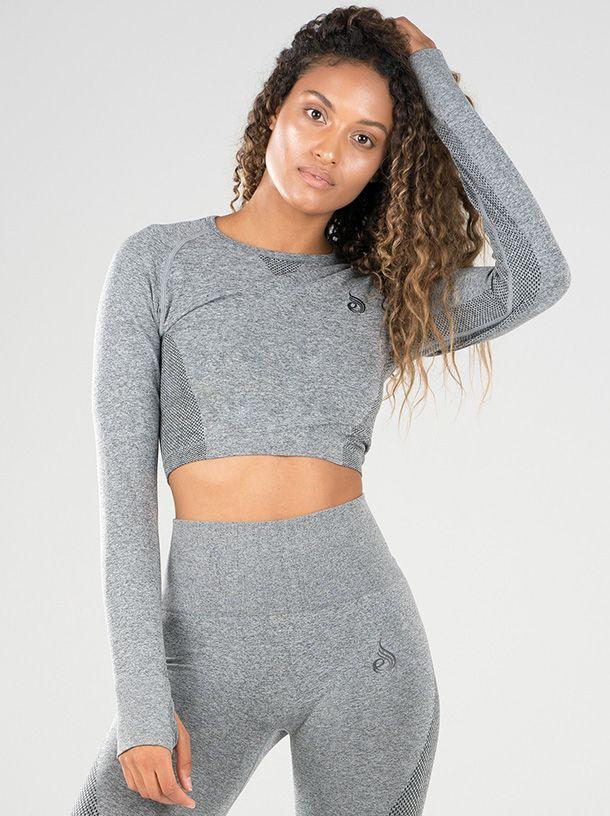 Ryderwear Seamless Long Sleeve Crop - Light Grey