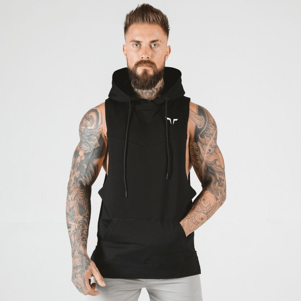 Squat Wolf Adonis Sleeveless Hoodie - Black