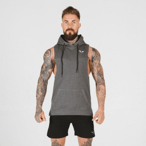 Squat Wolf Adonis Sleeveless Hoodie - Melange Grey