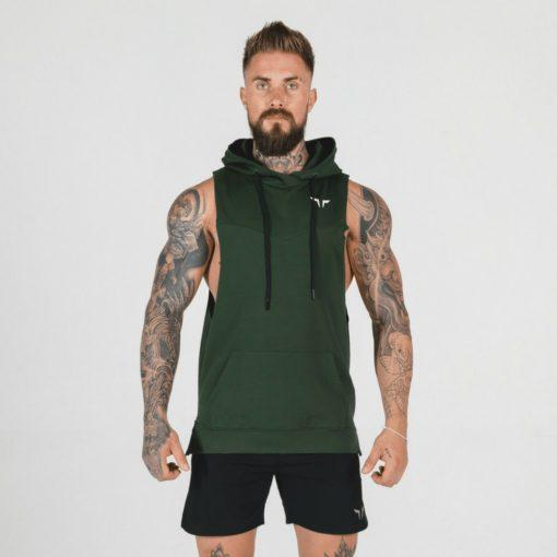 Squat Wolf Adonis Sleeveless Hoodie - Olive Green