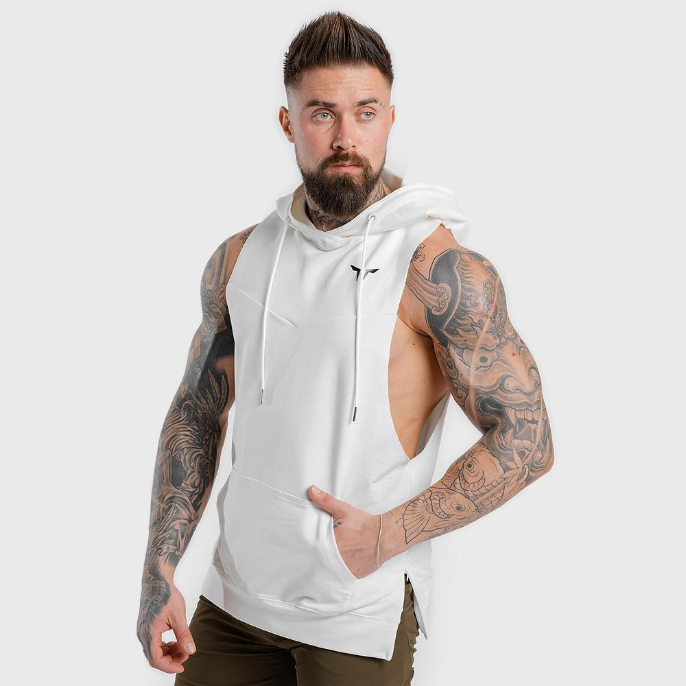 Squat Wolf Adonis Sleeveless Hoodie - White