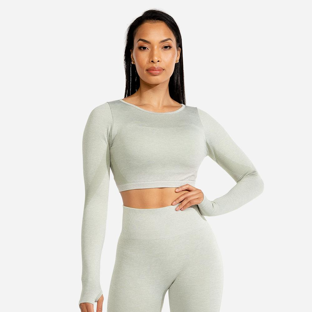 Squat Wolf Marl Seamless Long Sleeve Crop - Ice