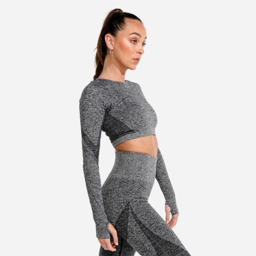 Squat Wolf Marl Seamless Long Sleeve Crop - Onyx