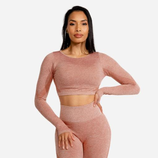 Squat Wolf Marl Seamless Long Sleeve Crop - Rose Gold