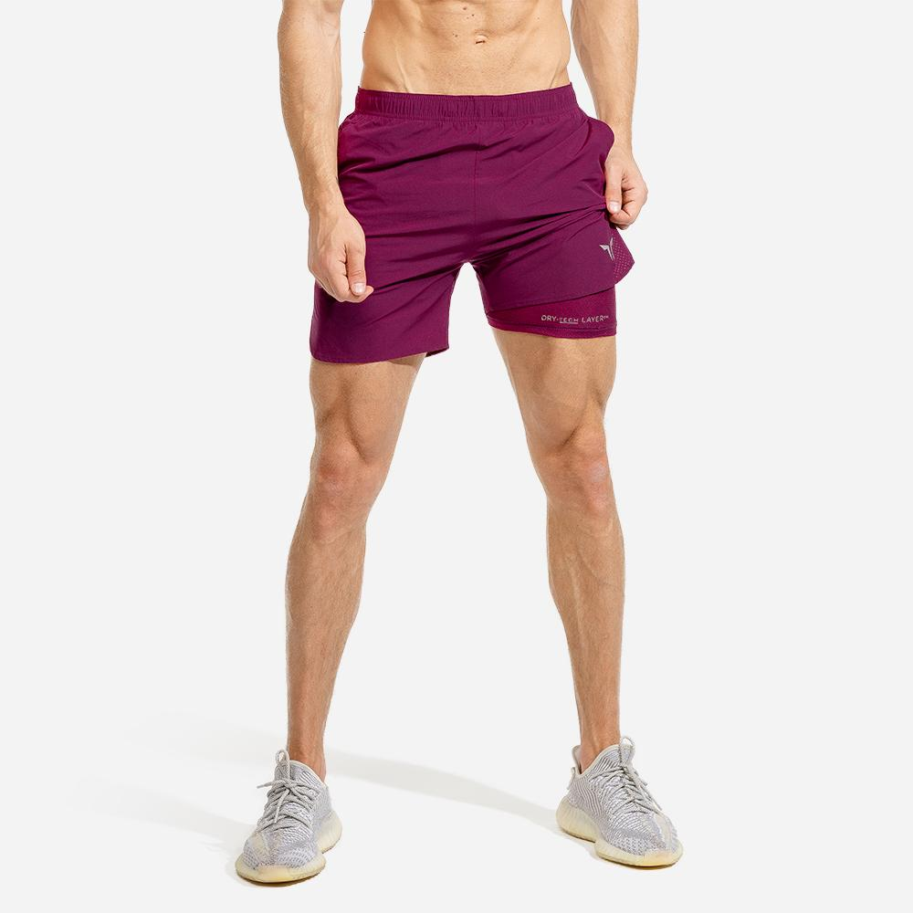 Squat Wolf Mens 2-in-1 Dry Tech Shorts - Maroon