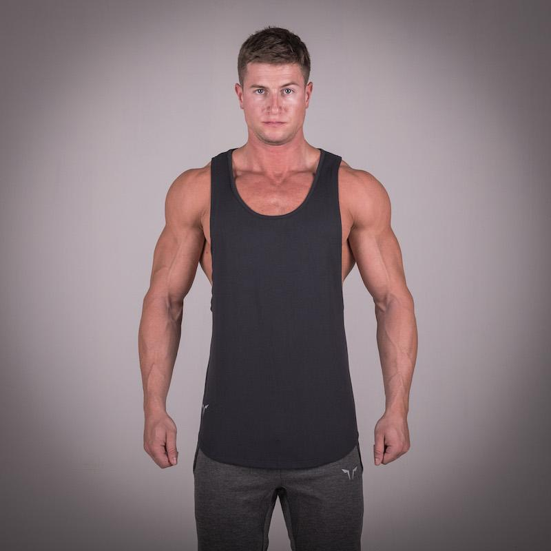 Squat Wolf Mens MUSCLE STRINGER - BLACK