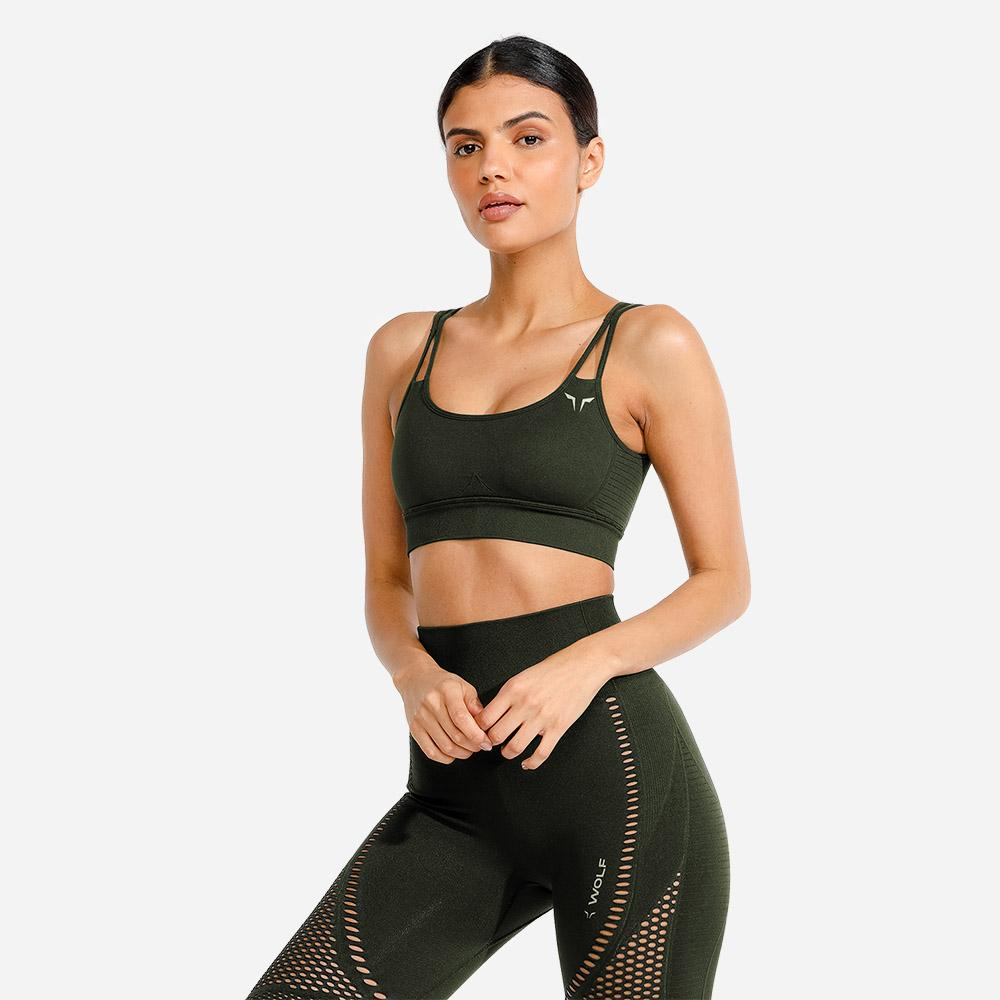 Squat Wolf Meta Sports Bra - Khaki