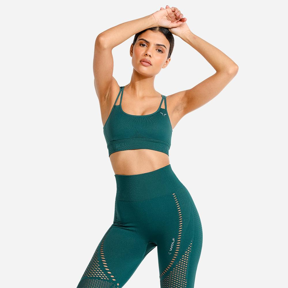 Squat Wolf Meta Sports Bra - Teal