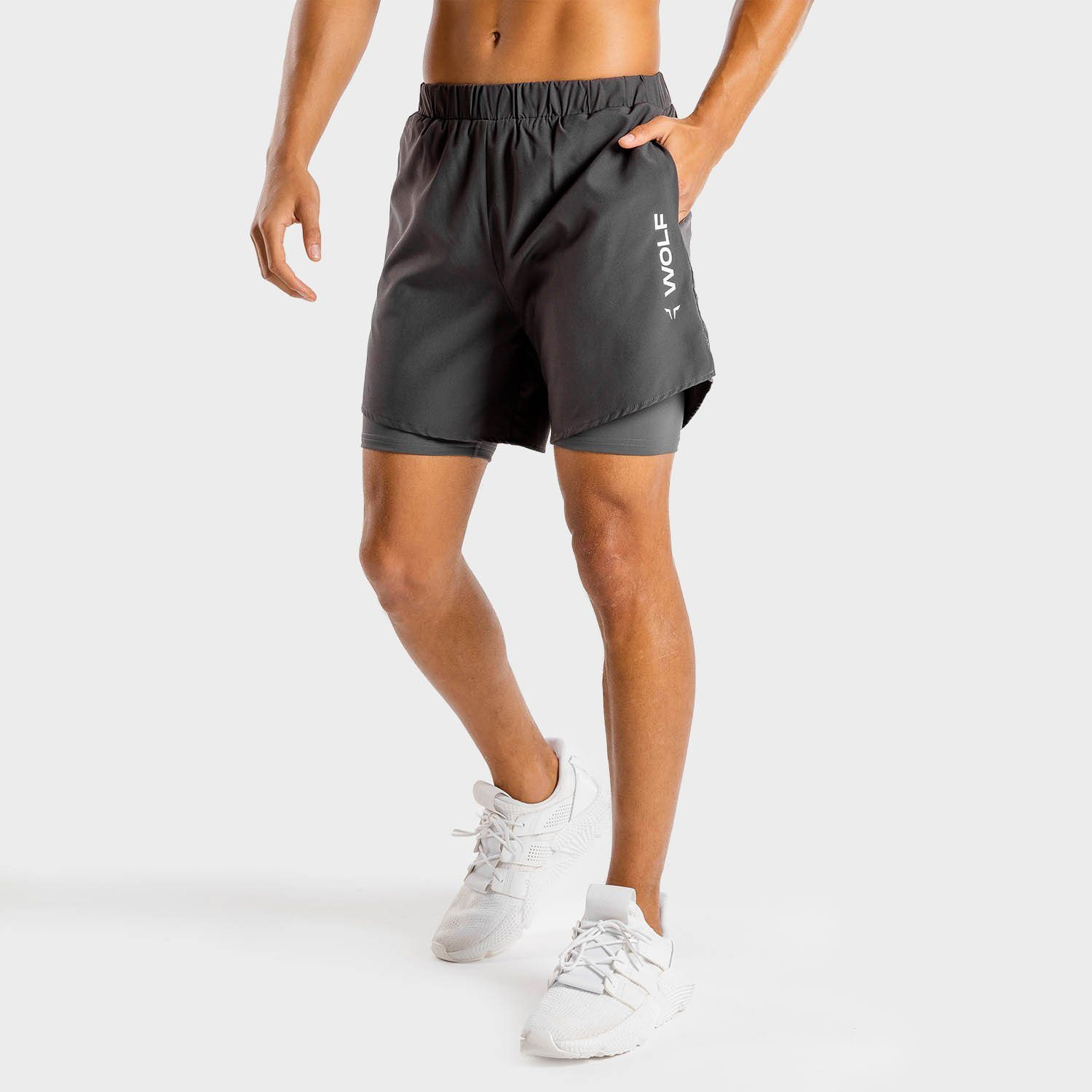 Squat Wolf Primal 2-in-1 Shorts – Charcoal