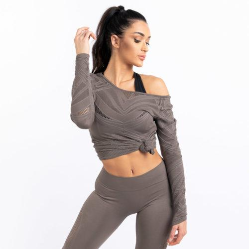 Squat Wolf She-Wolf Seamless Long Sleeve Tee - Beige