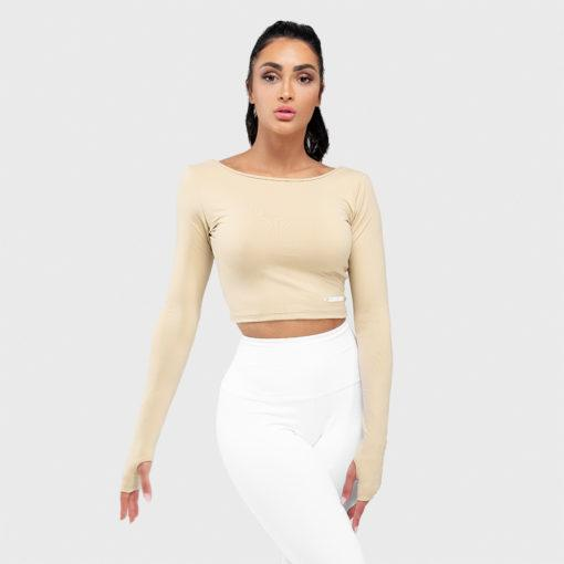Squat Wolf Warrior Long Sleeve Crop Tee - Beige