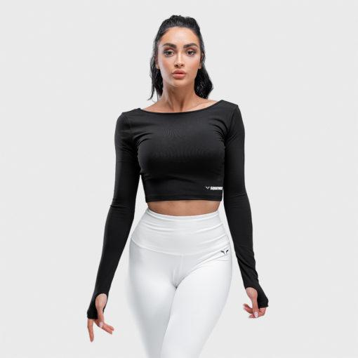 Squat Wolf Warrior Long Sleeve Crop Tee - Black