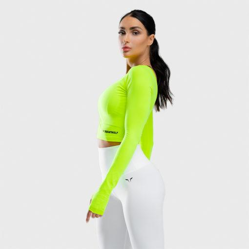 Squat Wolf Warrior Long Sleeve Crop Tee - Neon