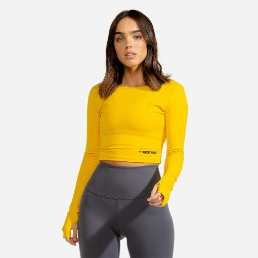 Squat Wolf Warrior Long Sleeve Crop Tee - Yellow
