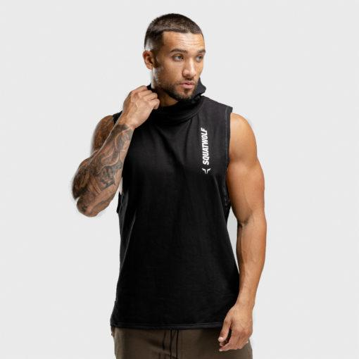 Squat Wolf Warrior Sleeveless Hoodie - Black