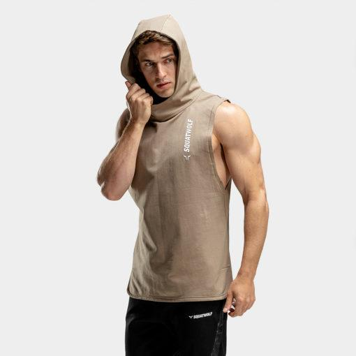 Squat Wolf Warrior Sleeveless Hoodie - Brown