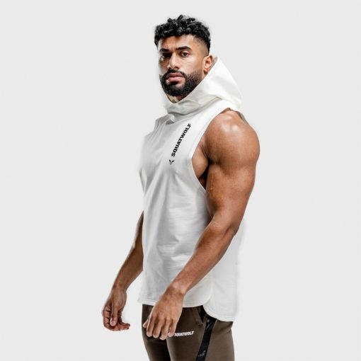 Squat Wolf Warrior Sleeveless Hoodie - Pearl White