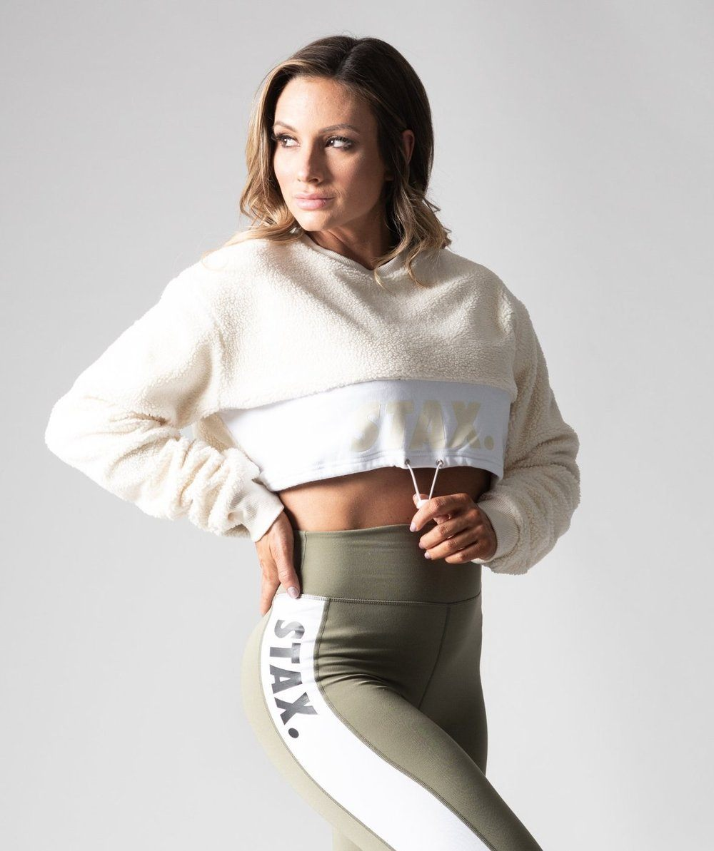 STAX. Luxe Sherpa Cropped Crew Sweater - Cream