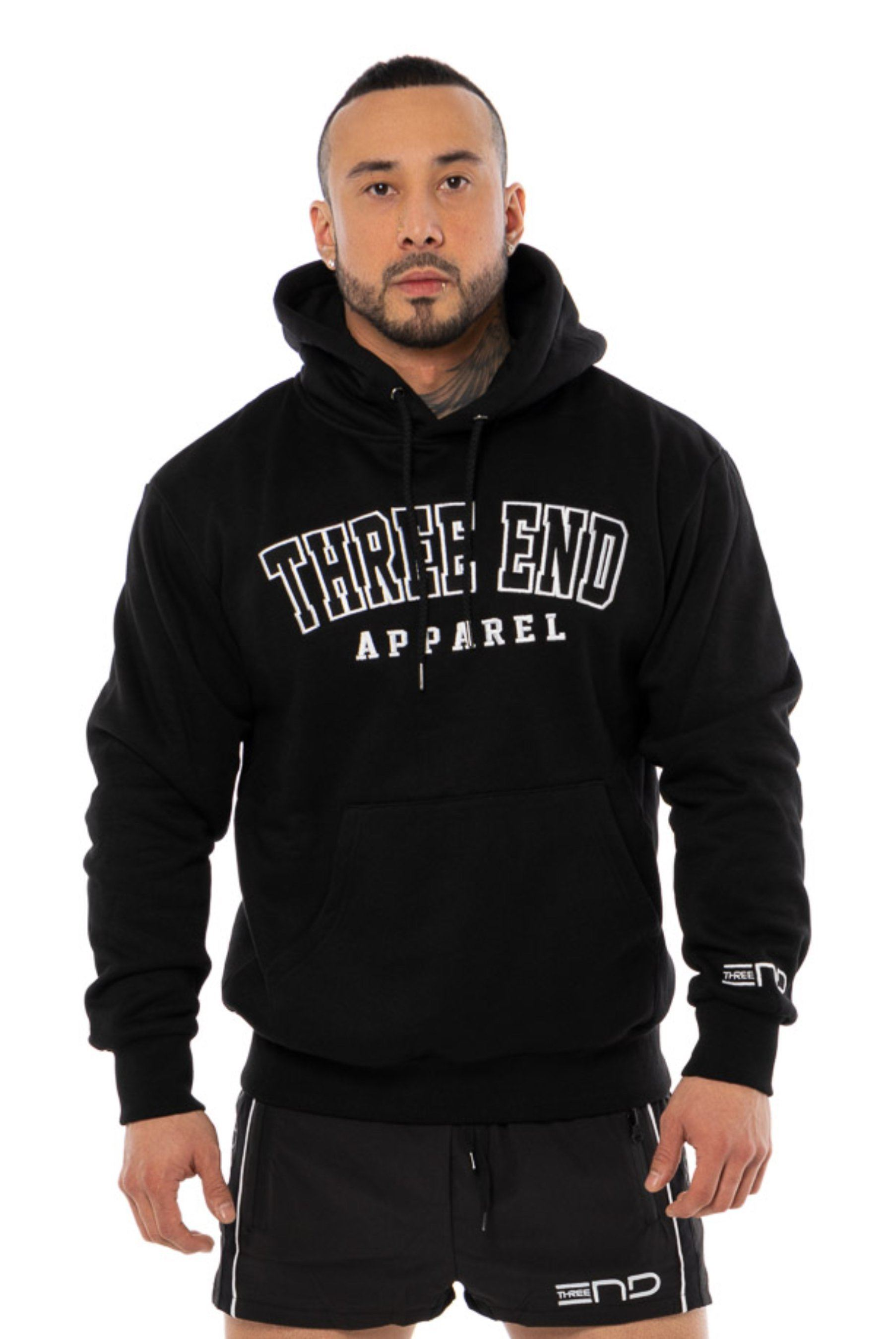 Three End College Hoodie - Black