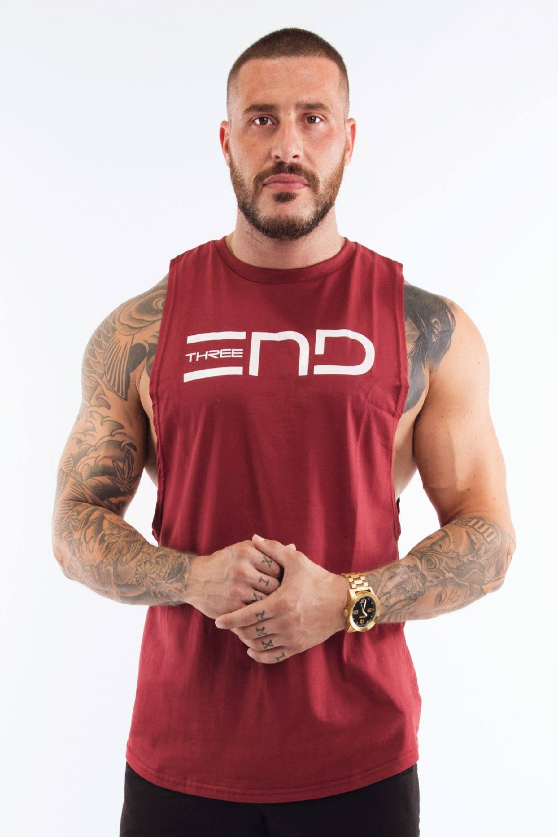 Three End Combat Muscle Tank - Maroon