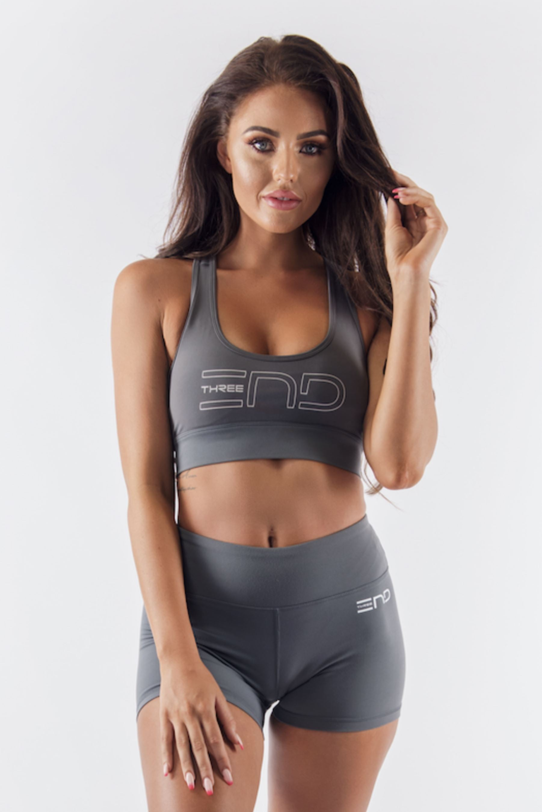 Three End Hyped Sports Bra - Charcoal