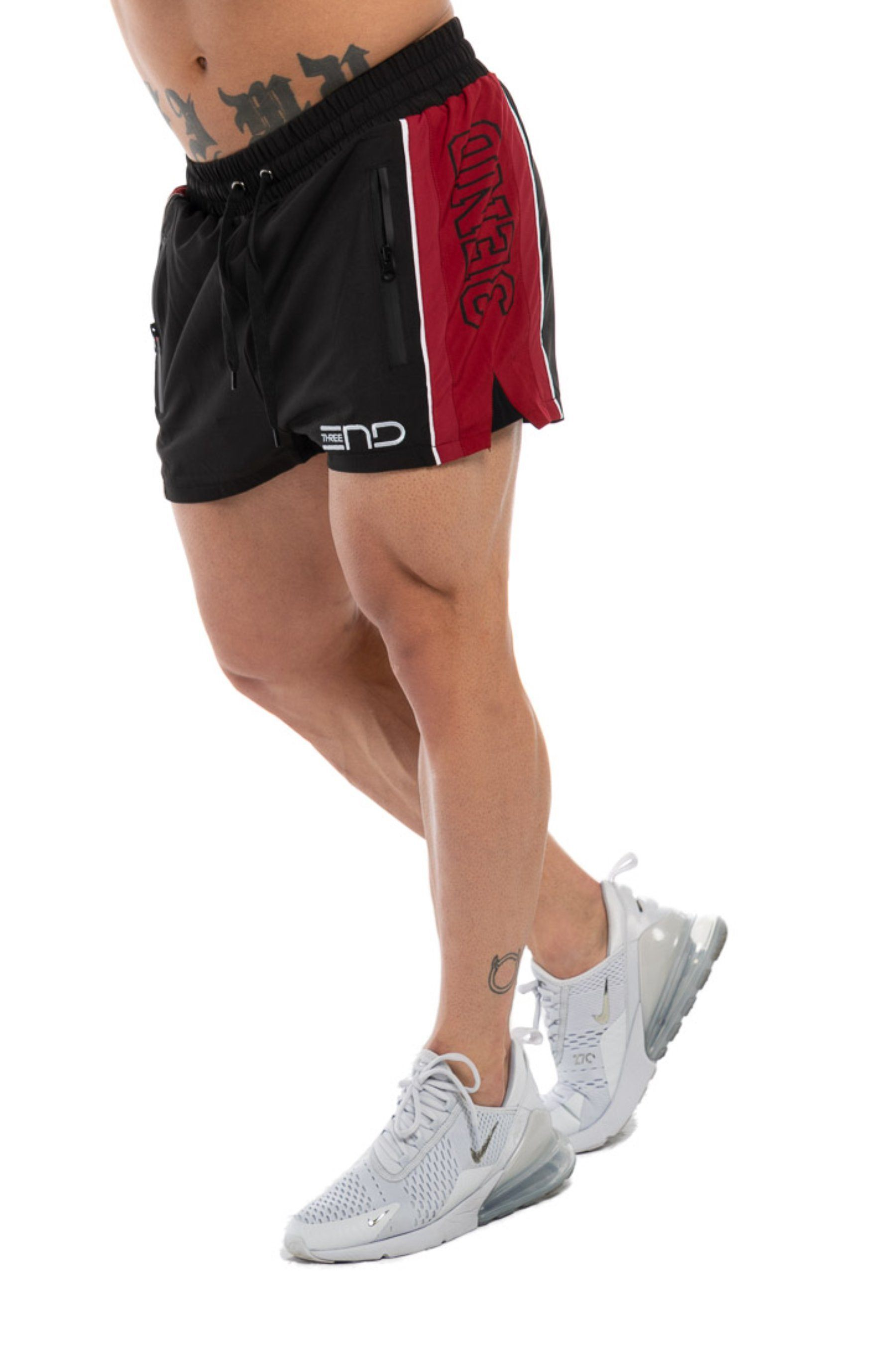 Three End Lifting Shorts - Black/Maroon