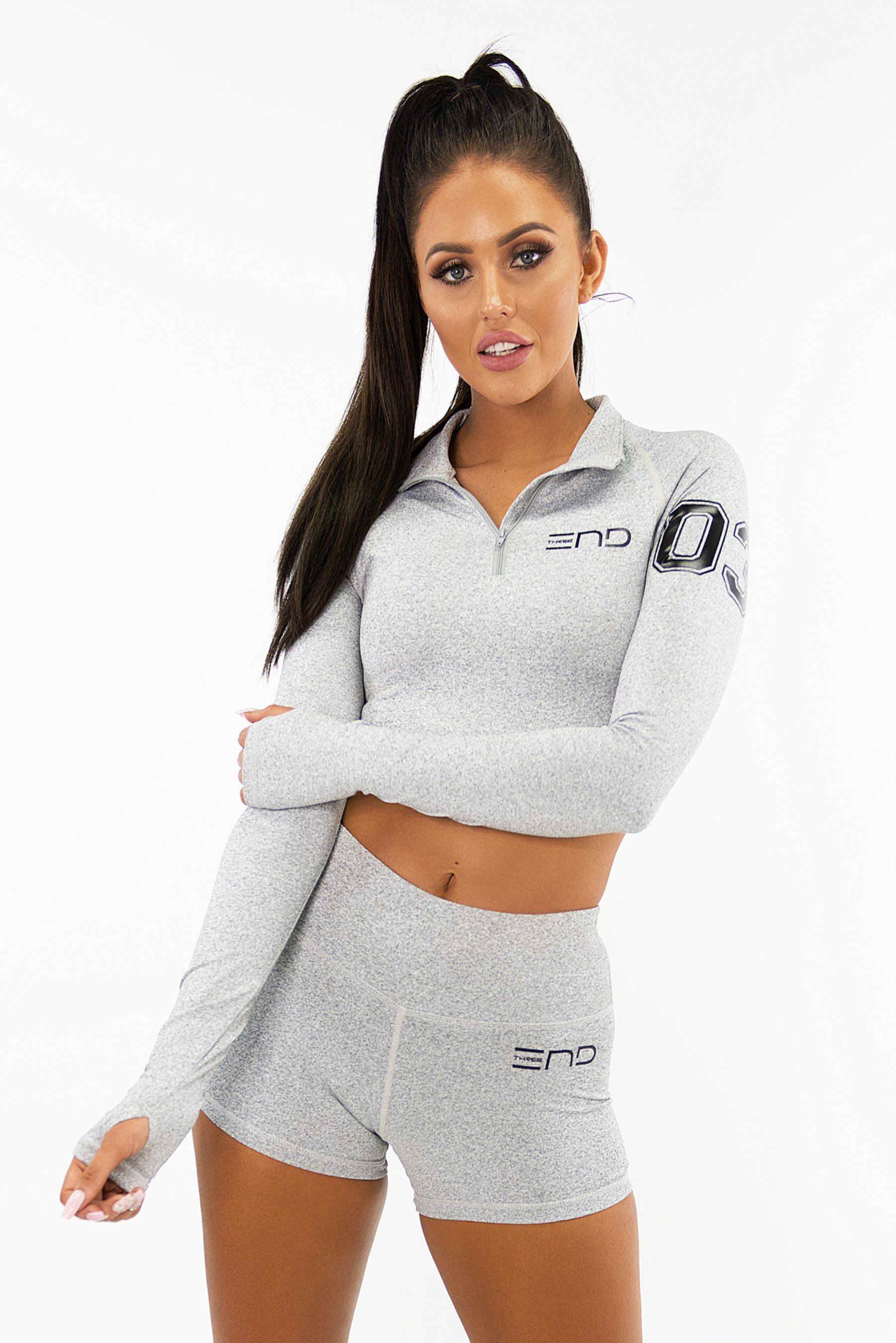 Three End Varsity Long Sleeve Crop - Light Grey