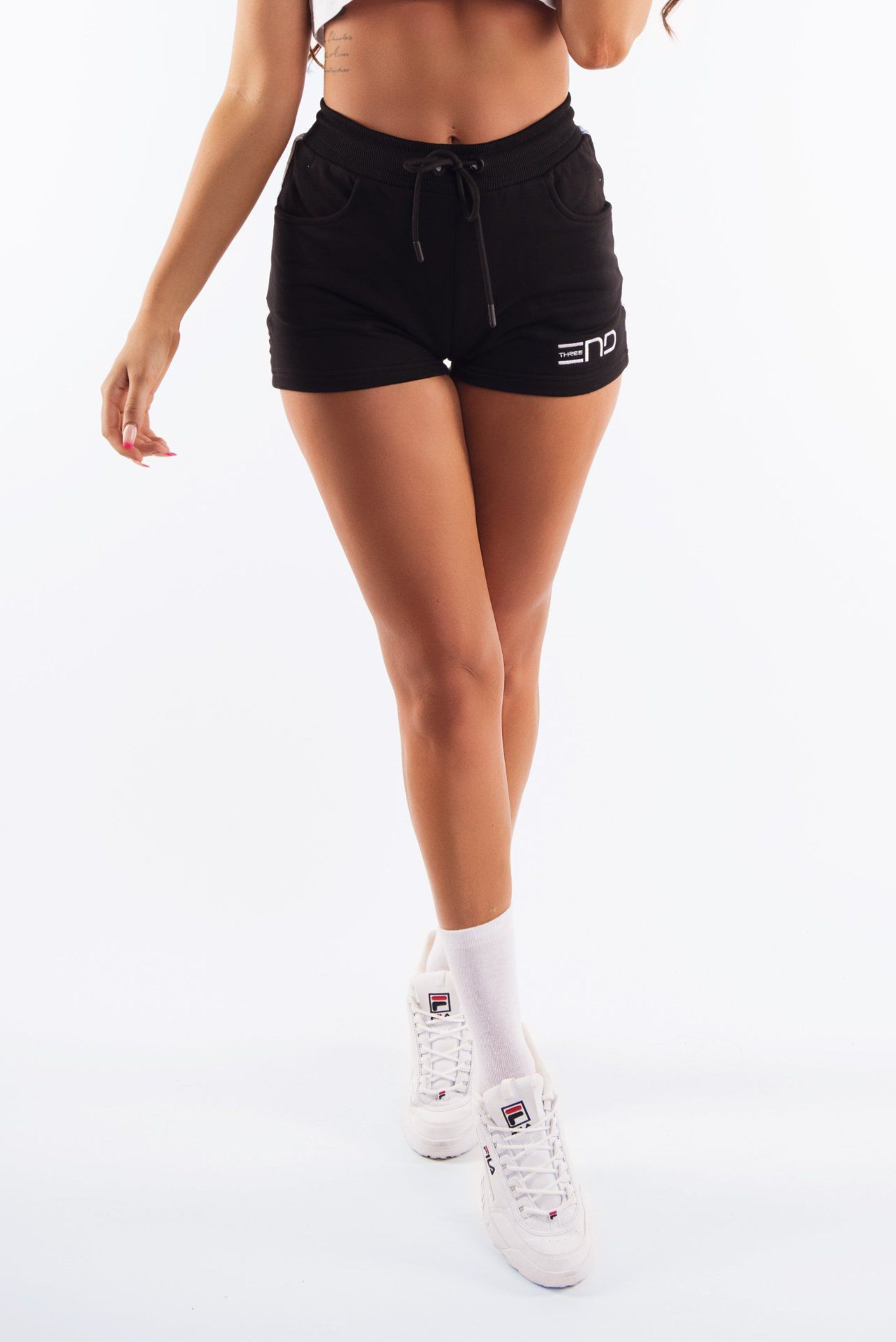 Three End Womens Urban Tape Shorts - Black