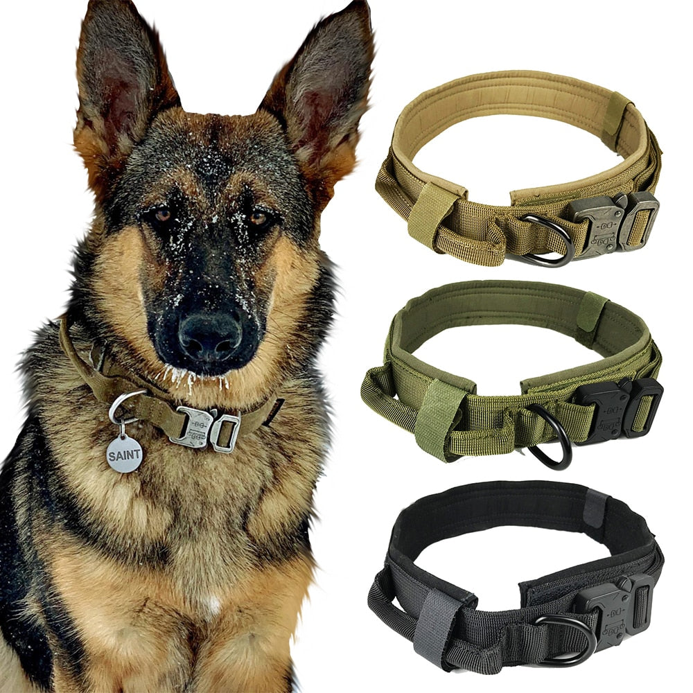 Heavy Duty Tactical Combat Collar With Handle and Hook & Loop Fasteners