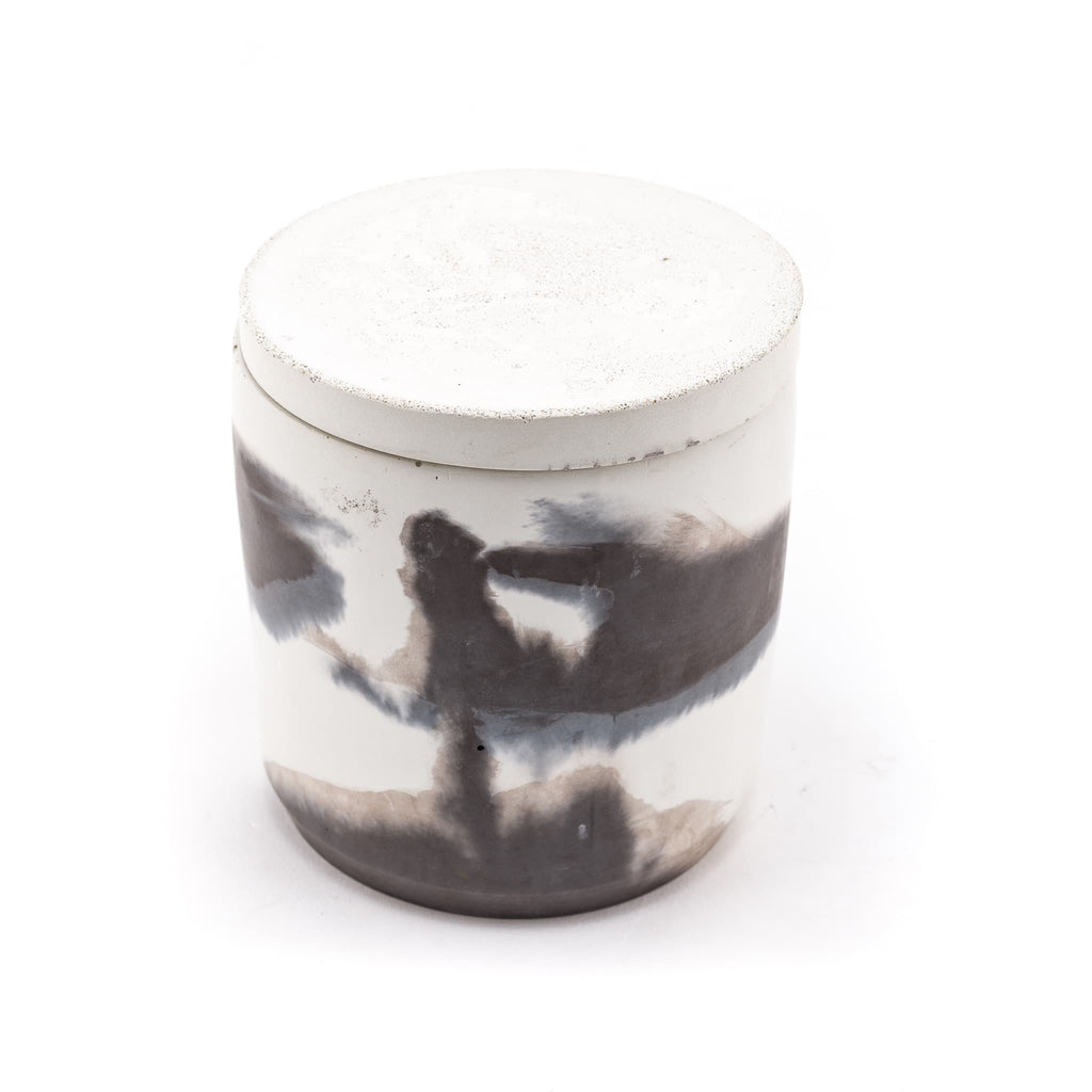 100% soy handpoured candle in a handmade swirled concrete jar. lavender, musk, tobacco, scents