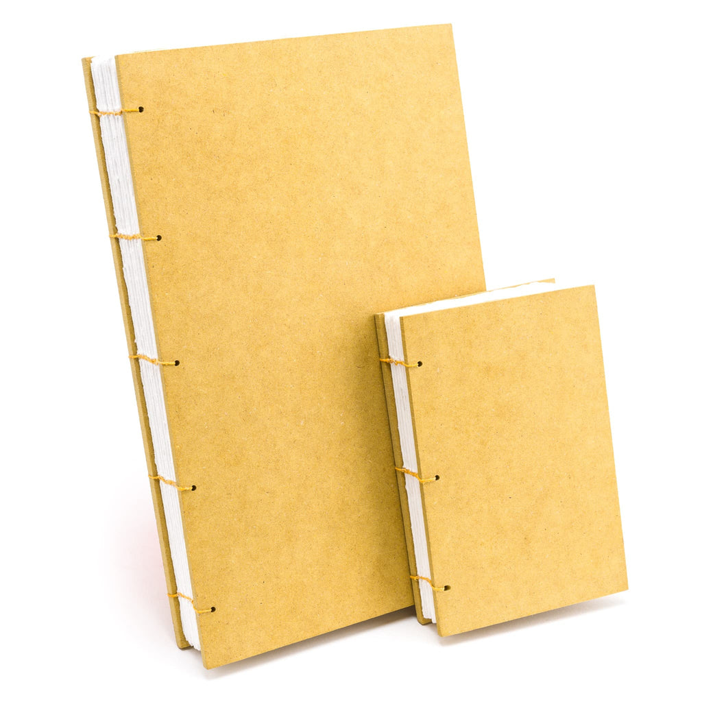 Amber handmade sketchbook made with handmade 100% white cotton paper.