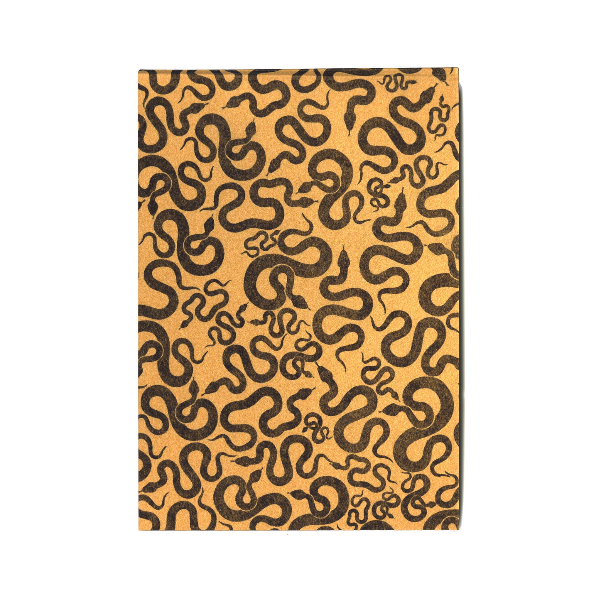 Pocket mini journal with yellow original snake design serpent cover & 100% cotton paper pages