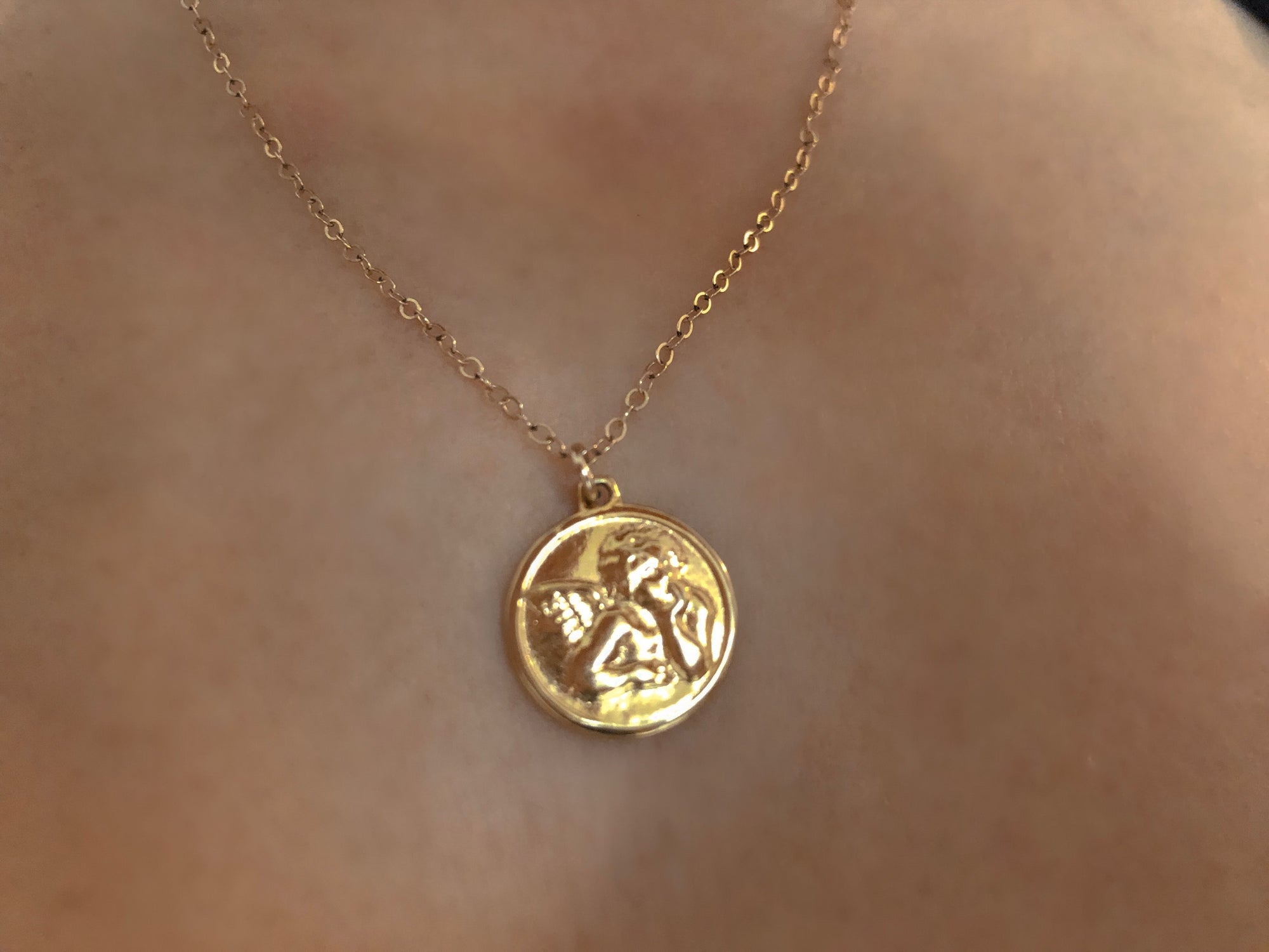 Gold angel coin necklace trending fashion jewelry spiritual gold angel coin necklace aloadofball Images