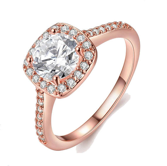 Rose Gold Crystal Ring Trending Fashion Jewelry Gemstone Rings