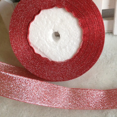 Glitter Ribbon 20mm - Red/Silver