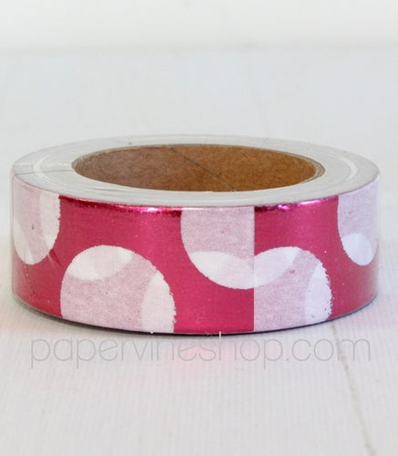 Artfull Embellies - Washi Tape - Pink Large White Dot (Metallic)