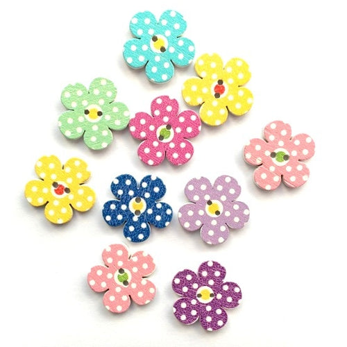 Artfull Embellies - Wooden Buttons - Printed Flowers