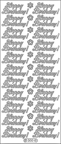 PeelCraft Stickers - Happy Birthday Text - Gold (PC300G)