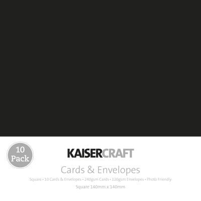 Kaisercraft - Cards and Envelopes Pack - Square Black (10pk)